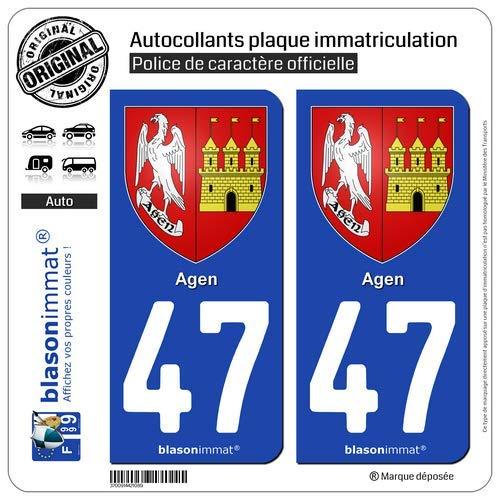 blasonimmat 2 Autocollants Plaque immatriculation Auto 47 Agen - Armoiries