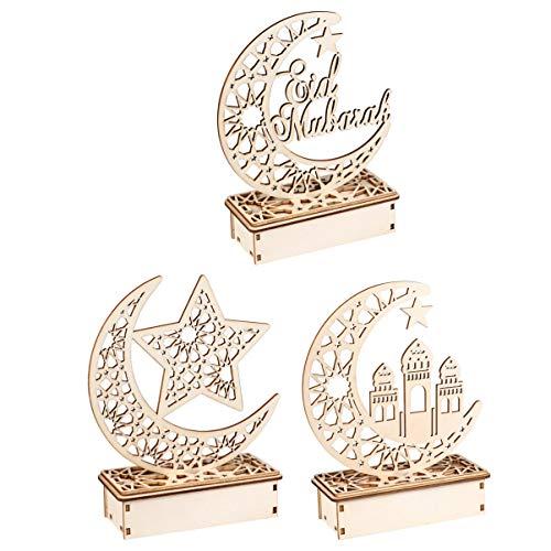 Uonlytech 3 piezas de madera Eid Mubarak decoración de mesa de Ramadan Luna Luz nocturna lámpara de mesa Eid Mubarak regalo sin batería estilo aleatorio