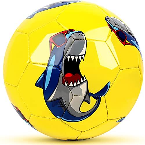 Champhox Kinder Fußball Ball Größe 1 mit Pumpe, Kinder-Sportball, Cartoon-Design, Kleinkinder, Freizeitball für drinnen und draußen, Ball für Kinder, Kleinkinder, Mädchen, Jungen, Kinder (Shark)