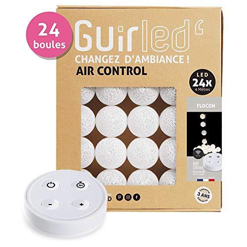 GuirLED Led-lichtsnoer met katoenen bollen, draadloze afstandsbediening, USB-oplader met dubbele interface (2 A), 4 lichtintensiteiten, 24 kogels, sneeuwvlok