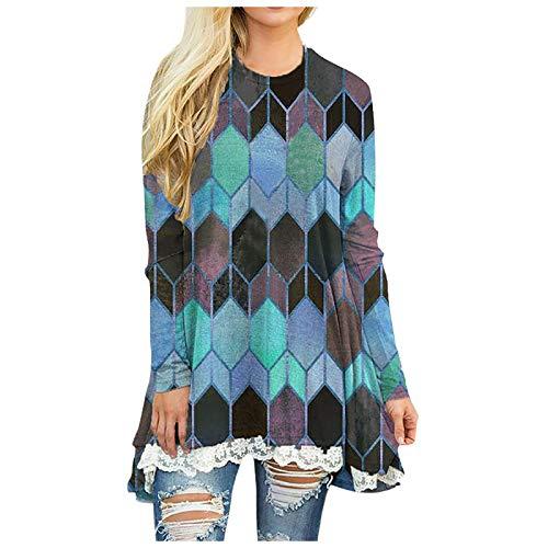 Damen Bluse Drucken Langarmshirt Hemdbluse Lässig Spleißen Langarm One-Shoulder Frauen Vintage T-Shirt Casual Pullover Sweatshirts Tops Shirt (B-Grün, L)