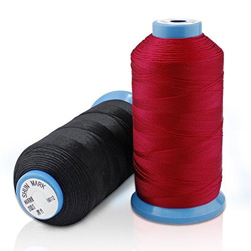 Hilo de coser de Nylon consolidado PsmGoods fuerte para máquina de coser de la mano de costura rojo negro , 2Pack