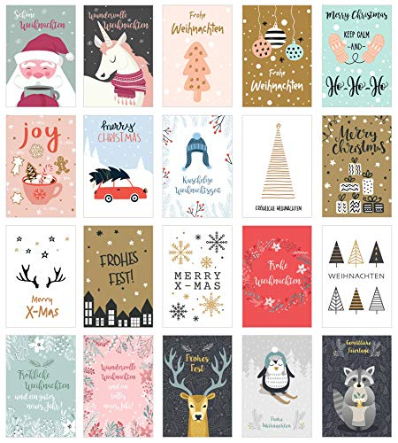 Edition Seidel Set 20 exklusive Premium Weihnachtskarten mit Umschlag. Doppelkarten/Klappkarten mit Briefumschlag. Weihnachten Karte Postkarte Weihnachtspostkarte