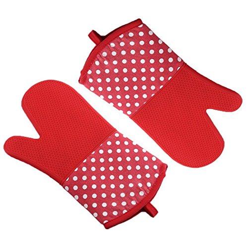 Milopon Paire de Gants de Four en Silicone résistant à la Chaleur Gants de Barbecue pour Four à Micro-Ondes pour Cuisine, Rouge