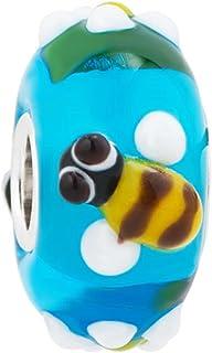 ReisJewelry Honey Bee Murano Glass Beads Lampwork Spacer Charm 925 Sterling Silver Core For Bracelets