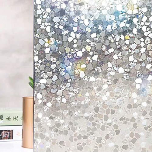 N / A 3D laser stone window film privacy glass sticker opaque glue-free static anti-UV bathroom curtain film sunscreen door home decoration film A6545x200cm