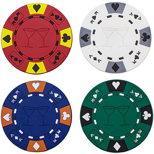 (4) Poker Chips Drink Coaster Bar Set by Brybelly