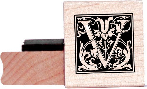 Tampon en caoutchouc alphabet - Lettre V à la William Morris
