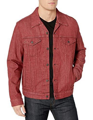 Men Dark Red Denim Jacket