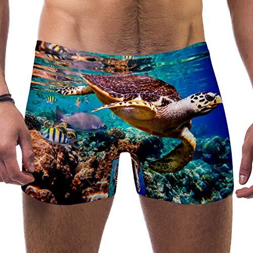 LORVIES Hawksbill Turtle Maldives Corail Reef Homme Boxer Short Coupe carrée Short Maillot de bain Séchage rapide Taille S - - S