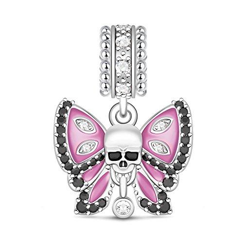 GNOCE Totenkopf Schmetterling Charms Anhänger Motiv 925er Sterlingsilber Ich Liebe Dich bis zum Tod passend für Armbänder und Halsketten Schmuck Geschenk für Damen Herren