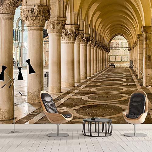 SDzuile Fotomurales 3D Decorativos Pared Salon Arquitectura Corredor Columna Romana 450X300Cm No Tejido Autoadhesivo Papel Tapiz Dormitorio Pegatinas De Wallpaper Sala De Estar Cocina Niño Niña De