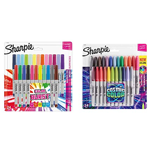 Sharpie 1949558 Color Burst Permanent Markers, Ultra Fine Point, Assorted Colors, 24-Count & Permanent Markers, Fine Point, CosMic Color, Limited Edition, 24 Count