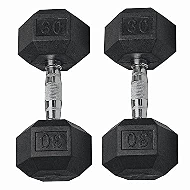 GYMENIST Set of 2 Hex Rubber Dumbbell with Metal Handles, Pair of 2 Heavy Dumbbell (30 Lb)