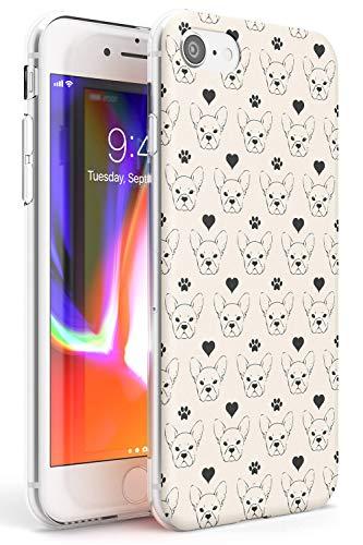 Bulldog Modello Francese Slim Cover per iPhone 7 Plus TPU Protettivo Phone Leggero con Animali Modello Frenchie Regalo Crema