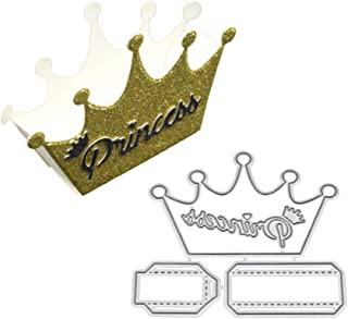 AkoMatial Cutting Dies,Lovely Princess Crown Shape Embossing Cutting Dies Tool Stencil Template Mold Card Making Scrapbook Album Paper Card Craft,Metal