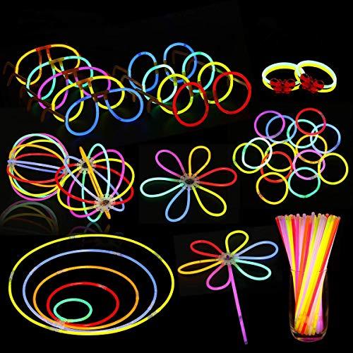 NASUM Knicklichter 100 Stücke Leuchtstäbe Armreifen, 6 Farbe mit 146pcs Zubehörteil Glowstick für Kinder Geburtstag, Party, Halloween und Weihnachten