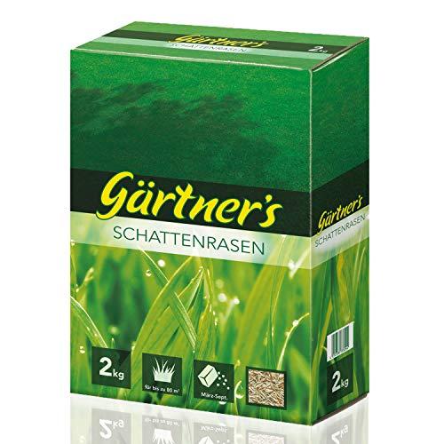 Gärtner's Schattenrasen 2 kg I RSM Rasensamen für halbschattige & schattige Standorte I Saatgutmischung für Rasen Neuanlage I Saatgutmischung zur Begrünung I Für bis zu 80 m2