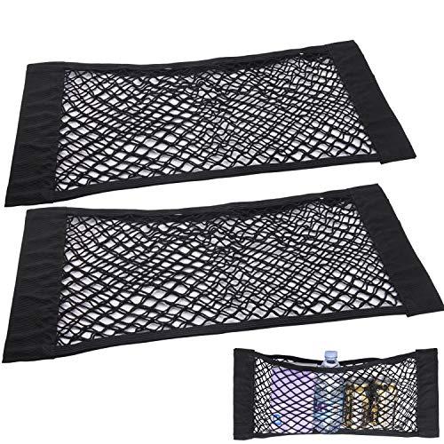 TENACHI 2 Universal Cargo Netting, Car Trunk Elastic Mesh Large Organizer, Adjustable Storage Nylon Net, Wall Sticker Add on Pouch Bag 24x10 inch, Car Accessories Interior Organizer with Adhesive Tape