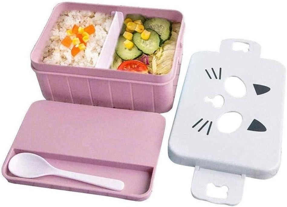 Fiambrera Lindo almuerzo de la historieta del gato Bento Box, Plastic saludable Food Storage Containers almuerzo for niños y adultos, 2 Compartimiento-reutilizable Bento Box con la cuchara disfrutar d