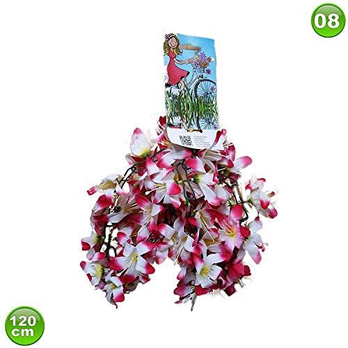 Unbekannt Fahrradgirlande Blumengirlande Blume Weiß/Violett 120 cm