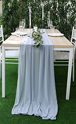 UNIQOOO 47 x 118 Inches Chiffon Table Runner | Blue Gray | Silky Chic Sheer Tablecloth Table Decor | Great for Wedding Banquet Dinner Bridal Shower Party Table Decoration