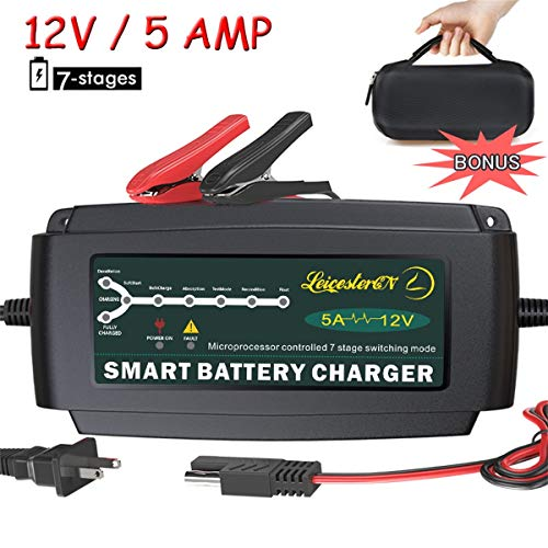LST 12V 5A Automatic Battery Charger Maintainer Smart Deep Cycle Battery Trickle Charger for...