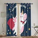 Throwpillow Vorhänge, rosa und weiße süße Kuh im Superheldenkostüm. Du bist Mein Held Text,...