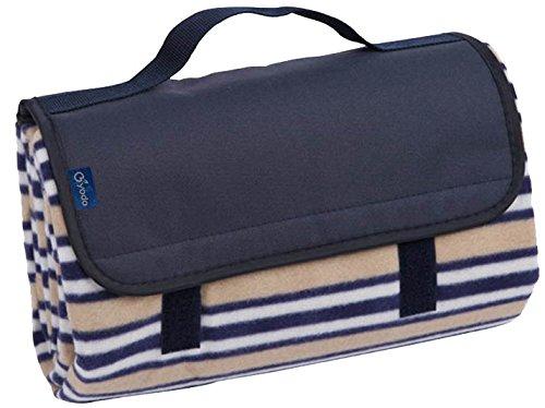 Brubaker Picknick Decke Fleece mit wasserfester PEVA Unterseite 150 x 135 cm - Blau Beige Streifen