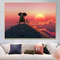 北欧の夕日象キャンバス絵画壁アートかわいい動物の写真ポスターと研究オフィスの家の装飾のためのプリント60x80cm(23.6x31.5インチ)フレームなし