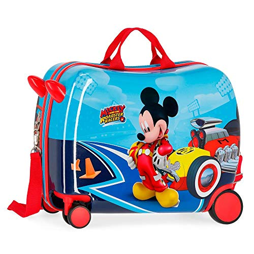 Disney Lets Roll Mickey Ride-On Suitcase 2 Multi-Direction Spinner Wheels Suitcase, 50 cm, 39 Liters;, Multicolour
