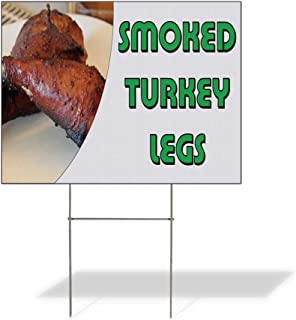 Plastic Weatherproof Yard Sign Smoked Turkey Legs Restaurant Cafe Bar Style S Smoked Turkey Legs Bistros & Cafés White for Sale Sign Multiple Quantities Available 18inx12in One Side Print One Sign