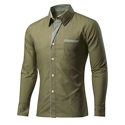 Rmine Herren Langarm Hemd Bügelleicht für Freizeit Business M-4XL (Armee Grün, XXL)