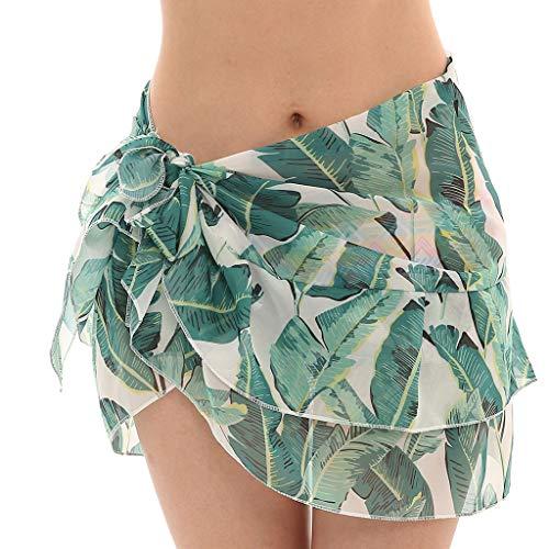 Scrolor Strandkleider Damen Pareos Blumenmuster gekräuselte Dekoration Sonnenschutz Multi-Zweck für Sommer Strand(Grün,Free)