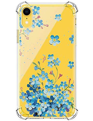Compatible con iPhone XR, funda transparente de gel de sílice, ultrafina, diseño de flores, anticaída, cojín de aire ligero, resistente a los golpes, adecuada para niñas 4 Talla única