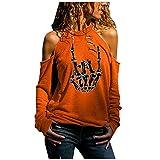 MRULIC Halloween Pullover Damen Langarm Schulterfrei Off Shoulder T-Shirt Halloween Druck Shirts...