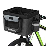 Honeytecs Foldable Bicycle Front Basket Removable Bike Pet Basket Pet Dog Cat Rabbit