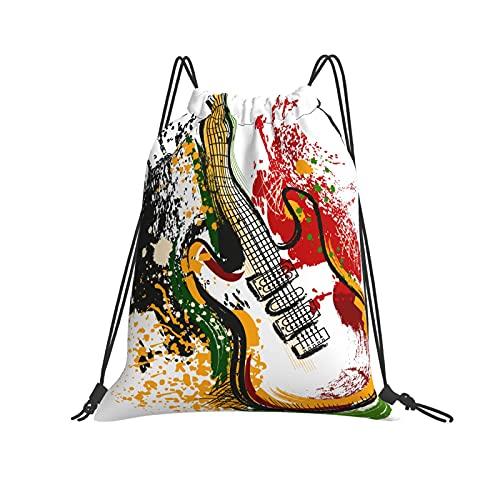 QUEMIN Bolsa clásica con cordón Guitarra eléctrica Dibujada a Mano Bolsa de Gimnasio con cordón Mochila con cordón Bolsa de Deporte de poliéster para Hombres y Mujeres