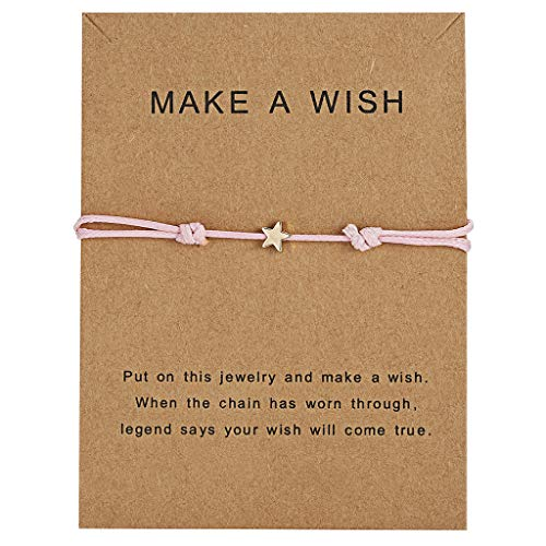 VVXXMO Women Men Couple Good Luck Wish Card Star Bangle,Charm Adjustable Wax Rope Bracelet,Friendship Jewelry