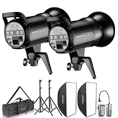 Neewer 600W Photo Studio Monolight Strobe Flash Light and Softbox Lighting Kit with Light Stand, RT-16 Wireless Trigger and Carrying Bag for Video Shooting, Location and Portrait Photography (SK300)