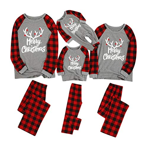 Beppter Matching Family Christmas Pajamas Sets Christmas PJ's with Red Plaid Long Sleeve Tee and Pants Loungewear(A,Kid/4-5 Years)