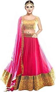 66b69c2101 Pramukh Fashion Women's Banglory Silk Semi-Stitched Lehenga Choli (kaya Pink ,MULTI-