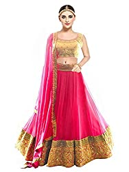 Pramukh Fashion Womens Banglory Silk Semi-Stitched Lehenga Choli (kaya Pink,MULTI-COLOUR,Free Size)
