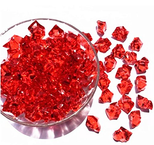 Ivie Kleurrijke Crystal Stone Acryl Glas Transparant Steen voor Visreservoir, Aquarium, Terraria, Vaas, Planten, Tuindecoratie (200gram) (rood-2)