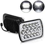 Tinpec 2PCS H6054 Led Headlights with High Low Sealed Beam Rectangle 7x6/5x7 Headlamps with Breathing Hole IP67 Waterproof Headlight Replacement Compatible with YJ XJ Cherokee Truck Ford Van