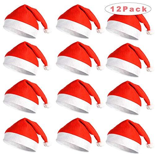 Sunshine smile 12 Stück weihnachtsmützen Kinder Erwachsene,nikolausmütze,weihnachtsmann mütze,Weihnachten mütze,Santa mütze,weihnachtsmütze Set