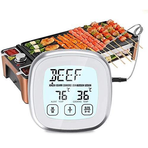 Termometro Cucina, con Sonda Lunga Timer Cucina Termometro Barbecue Digitale Elettronico per Alimenti per Carne da Forno