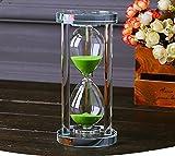 MINGZE Temporizador de reloj de arena de cristal transparente Reloj de arena Artesanía decoración de vidrio, 15 minutos / 30 minutos / 60 minutos (Verde, 60 minutos)
