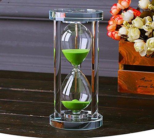 MINGZE L'orologio della sabbia di cristallo trasparente della clessidra dell'orologio mette in mostra la decorazione di vetro, 15 minuti / 30 minuti / 60 minuti (Verde, 60 minuti)