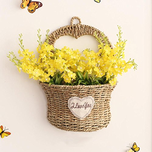 LNPP Decoraction Creativo de la Pared Flores Artificiales + Handmade Straw Basket Wall Hanging Home Decor, H